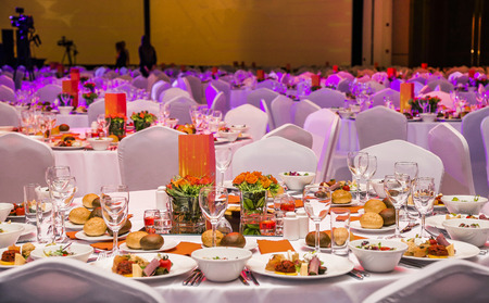 Photo for Wedding hall or other function set for fine dining - Royalty Free Image