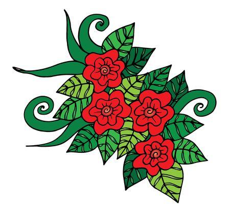 Illustration pour Doodle floral pattern in black and white. - image libre de droit