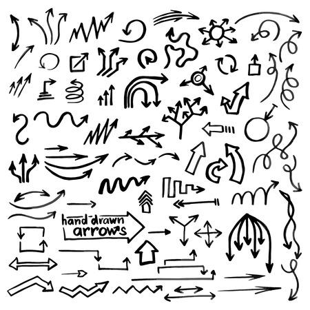 Ilustración de Hand drawn simple arrows set made in vector, beautiful business design element - Imagen libre de derechos