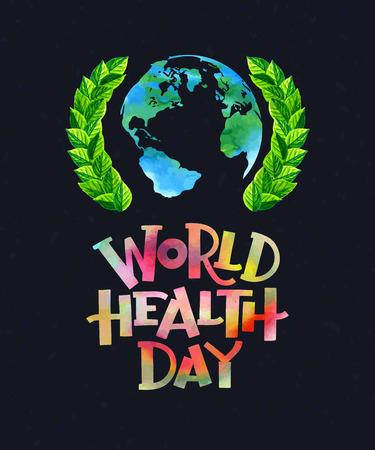 Photo pour Vector illustration. World health day concept with globe. - image libre de droit