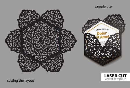 Illustration pour Digital vector file for laser cutting. Swirly ornate wedding invitation envelope. - image libre de droit