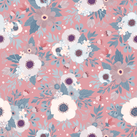 Illustration for Amazing seamless floral pattern with bright colorful flowers and leaves on a blue background. The elegant the template for fashion prints. Modern floral background. Folk style. - Royalty Free Image