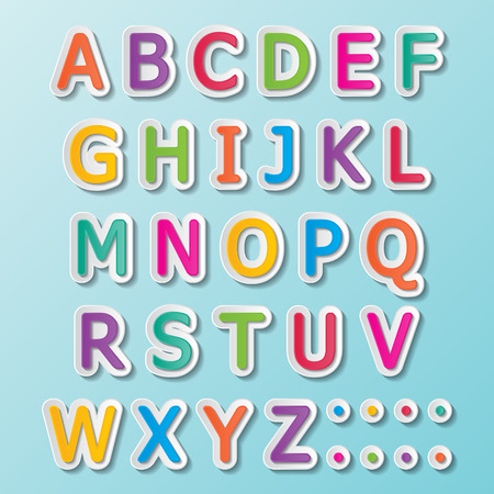 Illustration for colorful paper font signs  capital letters A-Z  - Royalty Free Image