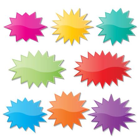 Ilustración de set of blank colorful paper starburst speech bubbles. - Imagen libre de derechos
