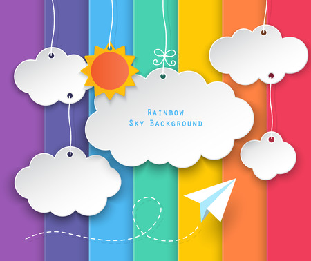 Illustration pour paper clouds, sun hanging and planes flying on rainbow sky background. - image libre de droit