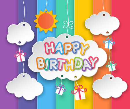 Illustration for Happy birthday paper clouds, sun and gift boxes hanging on rainbow sky background. - Royalty Free Image
