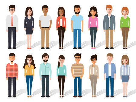 Illustrazione per set of working people standing on white background. Flat design characters. - Immagini Royalty Free