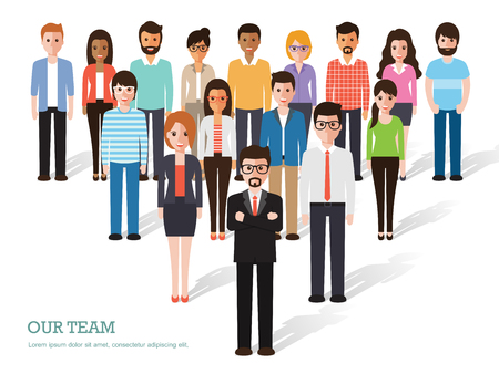Illustration pour Group of people at work on white background. Flat design characters. - image libre de droit
