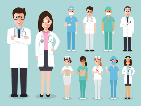 Ilustración de doctors and nurses and medical staffs flat design icon set - Imagen libre de derechos