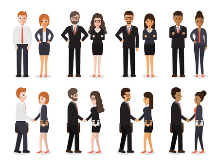 Ilustración de Group of people at work with handshaking on white background. Flat design characters. - Imagen libre de derechos