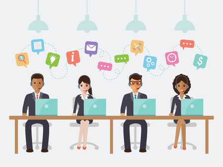 Illustration pour call center and customer service people in office. - image libre de droit