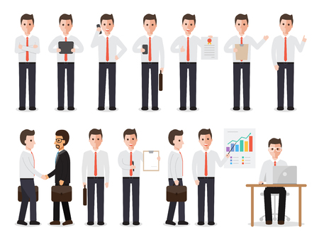 Illustration pour set of working people on white background. businessman people in flat design characters. - image libre de droit