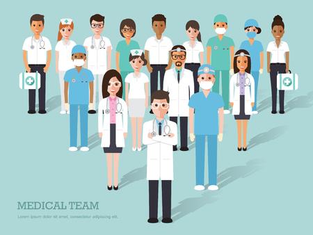Illustrazione per doctors and nurses and medical staffs flat design icon set - Immagini Royalty Free