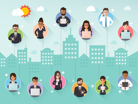 Illustration pour Group of diverse connecting businessman and businesswoman via social network on city scene background. Flat design people characters. - image libre de droit
