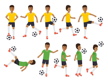 Black soccer sport athletes, football players playing, kicking, training and practicing football. Flat design people characters.