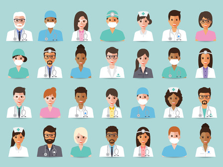 Ilustración de Group of doctors and nurses and medical staff people. Flat design people character set. - Imagen libre de derechos