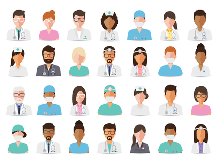Illustrazione per Group of doctors and nurses and medical staff people. Flat design people character set. - Immagini Royalty Free