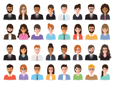 Group of diverse working people, business men and business women avatar icons. Vector illustration of flat design people characters.