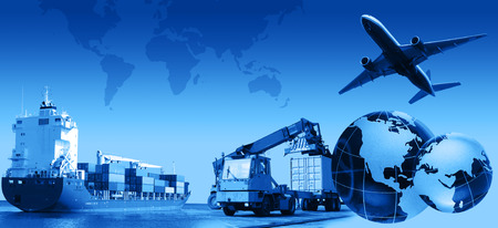 Photo pour Photo montage of freight/transport business activities, complex. - image libre de droit