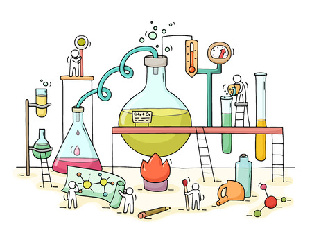 Illustration pour Sketch of chemical experiment with working little people, beaker. Doodle cute miniature of teamwork and materials research. Hand drawn cartoon vector illustration for biology and chemistry. - image libre de droit