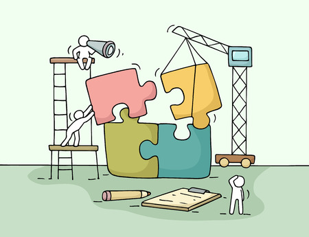 Ilustración de Sketch of working little people with puzzle, teamwork. Doodle cute miniature scene of workers collect puzzle pieces. Hand drawn cartoon vector illustration for business design and infographic. - Imagen libre de derechos