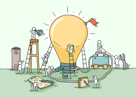Illustration pour Sketch of lamp idea construction with working little people, battery, flag. Doodle cute miniature of building lighting lamp and preparing for the new creative. Hand drawn cartoon vector illustration for business design and infographic. - image libre de droit