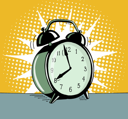 Illustration pour Cartoon pop art alarm clock. Comic retro hand drawn illustration - The alarm clock is ringing to wake up in the morning. Vector isolated on yellow halftone background. - image libre de droit