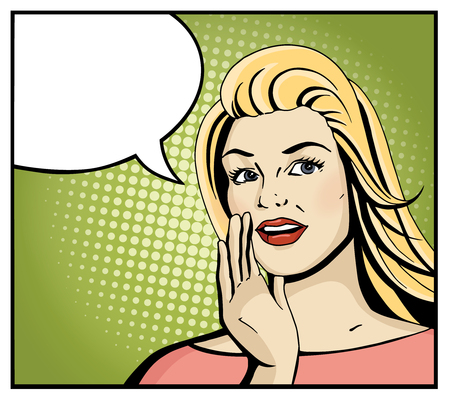 Illustration pour Pop art blonde woman smile and speak. Comic girl hold hand near open month with blank speech bubble. Vintage hand drawn vector illustration isolated on green halftone background. - image libre de droit