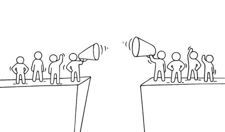 Ilustración de Cartoon working little people near abyss. Doodle cute miniature scene of two teams with megaphones. Hand drawn vector illustration for business design and infographic. - Imagen libre de derechos