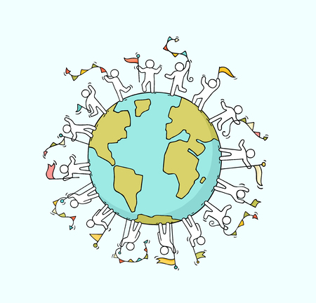 Illustration for Cartoon happy little people with garlands and flags around the world. Doodle cute miniature scene of workers about unity and planet. Hand drawn cartoon vector illustration. - Royalty Free Image