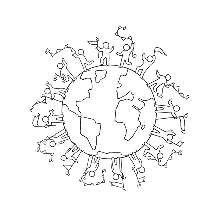 Illustration pour Cartoon happy little people with garlands and flags around the world. Doodle cute miniature scene of workers about unity and planet. Hand drawn cartoon vector illustration. - image libre de droit