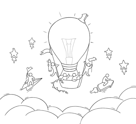 Illustration pour Cartoon little people fly in air. Doodle cute miniature scene of workers with air balloon form lamp idea. Hand drawn vector illustration for business design. - image libre de droit