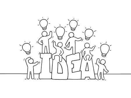 Ilustración de Cartoon working little people with word Idea and lamp ideas. Doodle cute miniature scene of workers about creativity. Hand drawn vector illustration for business design. - Imagen libre de derechos