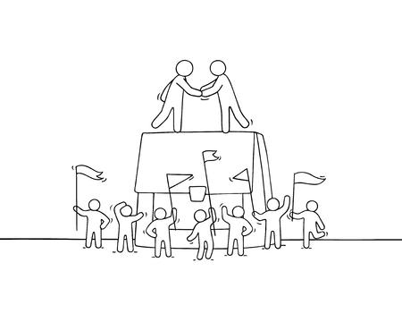 Ilustración de Cartoon little business people with big case. Doodle cute miniature scene of workers about cooperation. Hand drawn vector illustration. - Imagen libre de derechos