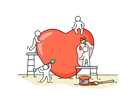 Illustration for Sketch of working little people with big love sign. - Royalty Free Image