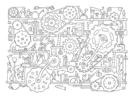 Ilustración de Sketch of people teamwork, gears, production. - Imagen libre de derechos