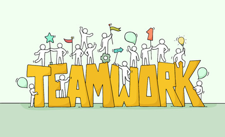 Photo pour Sketch of working little people with big word Teamwork. - image libre de droit