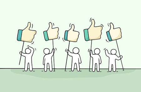 Ilustración de Crowd of working little people with like sings. Doodle cute miniature about communication. Hand drawn cartoon vector illustration for social media and web design. - Imagen libre de derechos