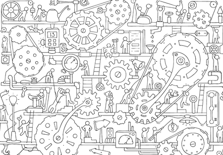 Illustration pour Sketch of people teamwork, gears, production. Doodle cartoon mechanism with machinery and cogwheels. Hand drawn vector illustration for business and industry design. - image libre de droit