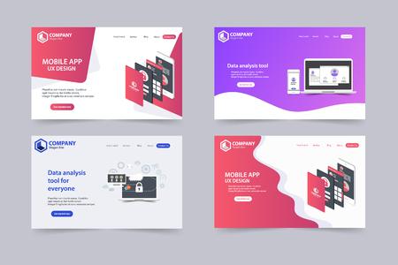 Illustration pour New Trendy Website Landing Pages vector theme template design - image libre de droit