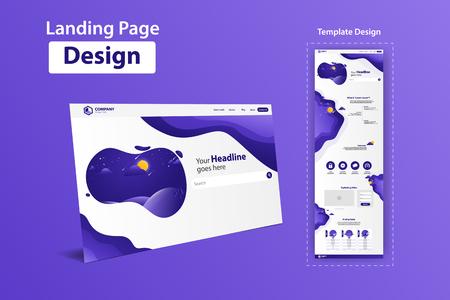 Illustration pour New Trendy Landing Page Website Vector Template Design - image libre de droit