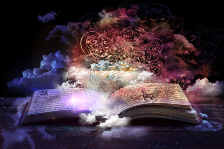 Foto de open magic book, stories and educational stories floating - Imagen libre de derechos