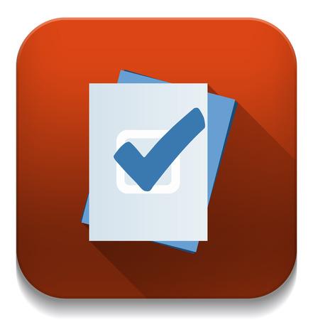 Illustration pour check mark button With long shadow over app button - image libre de droit