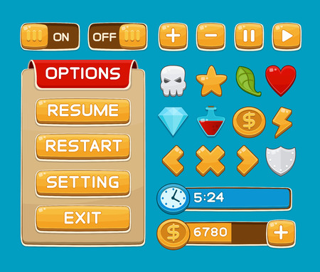 Illustration pour Interface buttons set for games or apps. Vector illustration. Easy to edit. Isolated on blue - image libre de droit