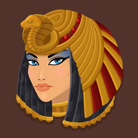 Illustration for Icon portrait Cleopatra. Vector illustration - Royalty Free Image