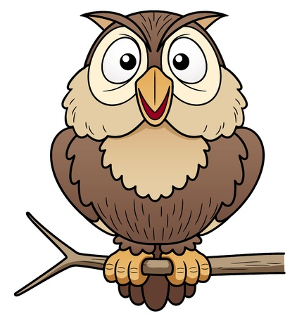 Photo for illustration of Cartoon owl sitting on tree branch - Royalty Free Image