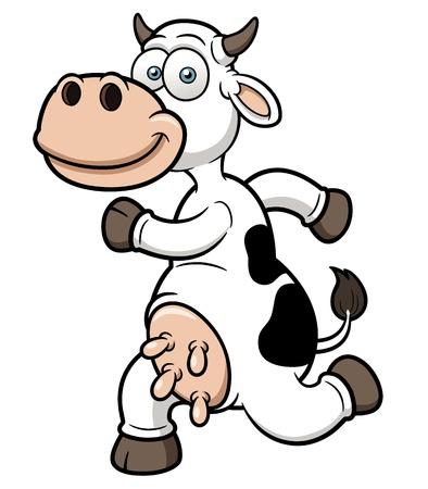 illustration of a running cow cartoon