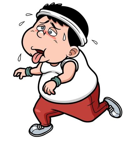 Foto de illustration of fat man Jogging tired - Imagen libre de derechos