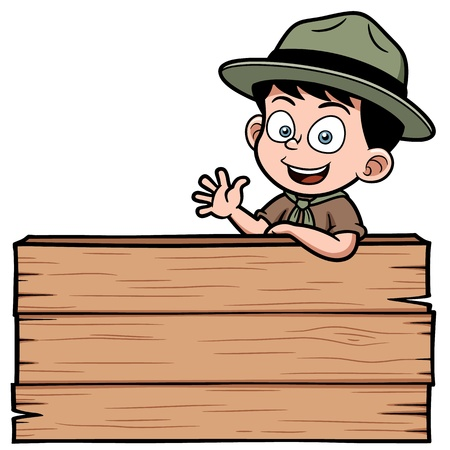 Illustration for Vector illustration of Boy with wooden board - Royalty Free Image