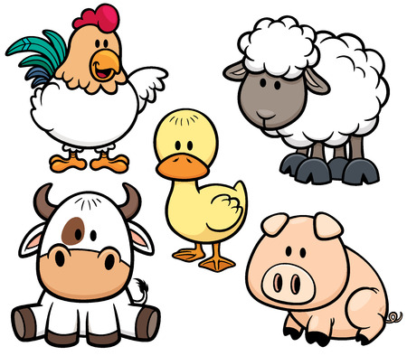 Photo pour Vector Illustration of Cartoon Animals farm set - image libre de droit